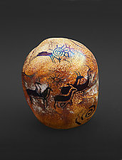 Petroglyph Rock - Running Antelope by Richard Satava (Art Glass Paperweight)