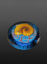 Gold Nautilus on Sapphire Paperweight by Richard Satava (Art Glass Paperweight)