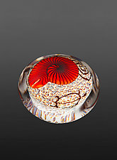 Red Nautilus on Cream Paperweight by Richard Satava (Art Glass Paperweight)