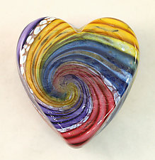 Rainbow Heart Paperweight by Ken Hanson and Ingrid Hanson (Art Glass Paperweight)