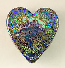 Leopard Heart Paperweight by Ken Hanson and Ingrid Hanson (Art Glass Paperweight)