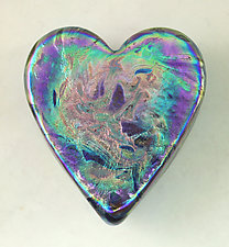 Iris Gold Swirl Heart Paperweight by Ken Hanson and Ingrid Hanson (Art Glass Paperweight)