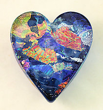 Aqua Dichroic Heart Paperweight by Ken Hanson and Ingrid Hanson (Art Glass Paperweight)