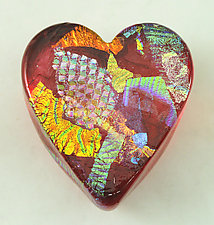 Ruby Dichroic Heart Paperweight by Ken Hanson and Ingrid Hanson (Art Glass Paperweight)