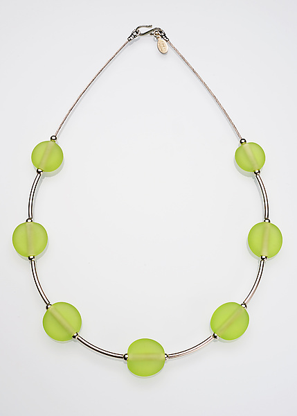 Lime Bead and Silver Necklace
