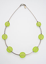 Lime Bead and Silver Necklace by Eloise Cotton (Art Glass & Silver Necklace)