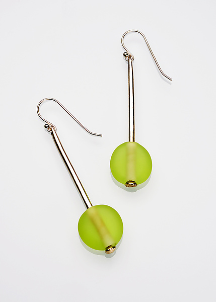 Lime Bead and Silver Earrings