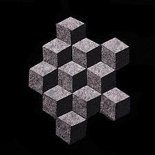 Monochromatic Cubic Brooch by Danielle Gori-Montanelli (Felted Brooch)