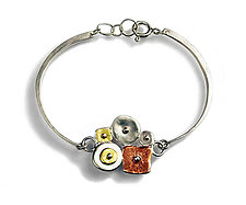 Sterling Silver Collaged Linked Bracelet by Virginia Stevens (Silver Bracelet)