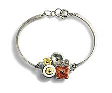 Sterling Silver Collaged Linked Bracelet by Virginia Stevens (Silver Bracelet)