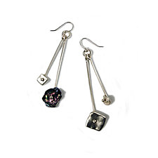 Sterling Silver Keshi Pearls in Motion Waterfall Earrings by Virginia Stevens (Silver & Pearl Earrings)