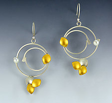 Summer Solstice by Judith Neugebauer (Gold, Silver & Pearl Earrings)