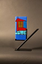 Mini Home Blue I by Vicky Kokolski and Meg Branzetti (Art Glass Sculpture)