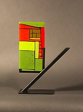 Mini Home Green I by Vicky Kokolski and Meg Branzetti (Art Glass Sculpture)