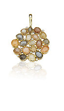 Moonstone and Diamond Pendant by Pamela Huizenga  (Gold, Silver & Stone Necklace)