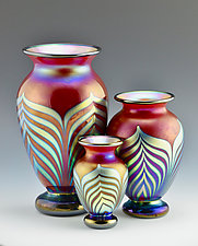 Red and Gold Lustre Footed Vase by Donald  Carlson (Art Glass Vase)