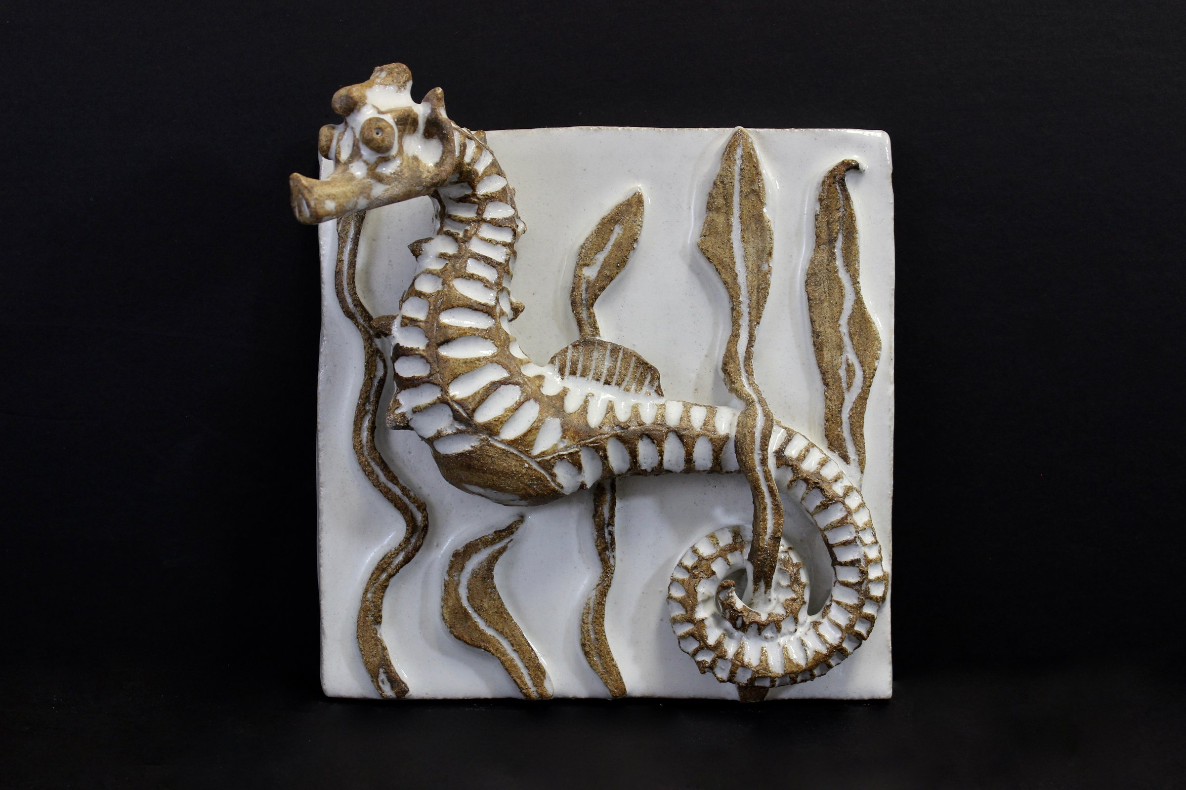 Seahorse Tile By Shayne Greco Ceramic Wall Sculpture