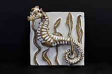 Seahorse Tile by Shayne Greco (Ceramic Wall Sculpture)