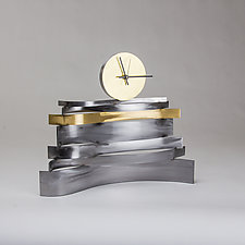 Tall Strata Clock by Ken Girardini and Julie Girardini (Metal Clock)