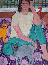 Woman with 3 Cats by Elisa Root (Oil Painting)