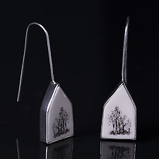 Tree House Earrings by Diana Eldreth (Ceramic Earrings)