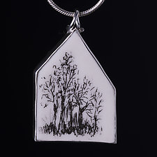 Large Tree House Pendant by Diana Eldreth (Ceramic Necklace)