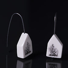 Tree House Earrings without Bezel by Diana Eldreth (Ceramic Earrings)