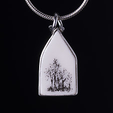 Small Tree House Pendant by Diana Eldreth (Ceramic Necklace)