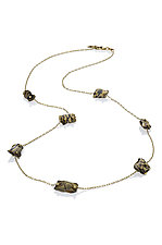 Oia 7 bead Aspen Nights Mokume by Lisa Jane Grant (Gold & Silver Necklace)
