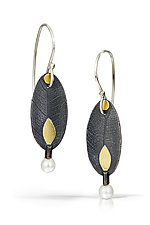 Simple Petal Earrings by Christine Mackellar (Gold, Silver & Pearl Earrings)