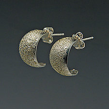 Broad Gold Dust Earrings by Dean Turner (Gold & Silver Earrings)