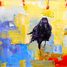 Black Crow, Blue Lake by Janice Sugg (Oil Painting)