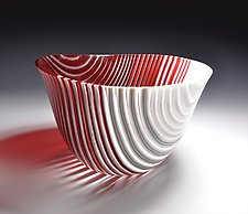 Red Stripe Vessel by Helen Rudy  (Art Glass Vessel)