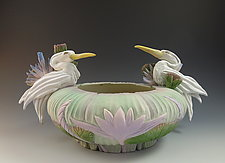 Two Heron Vessel by Nancy Y. Adams (Ceramic Vessel)
