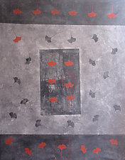 Dark Teahouse Mat by Faith Wilson (Painted Floorcloth)