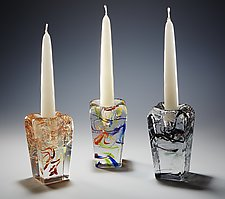 Tower Candlesticks by Joel and Candace  Bless (Art Glass Candleholder)