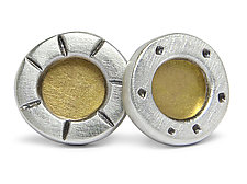 Silver Studs with Gold Center by Jodi Brownstein (Gold & Silver Earrings)