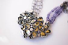 Organic-Shaped Neckpiece by Jinbi Park (Gold, Silver & Stone Necklace)
