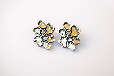 Organic-Shaped Earrings by Jinbi Park (Gold, Silver & Stone Earrings)