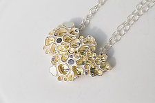 Organic Shaped Neckpiece II by Jinbee Park (Gold, Silver & Stone Necklace)