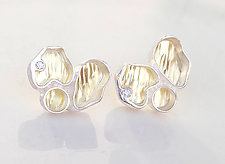 Organic-Shaped Stud Earrings II by Jinbi Park (Gold, Silver & Stone Earrings)
