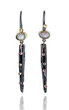 Bejeweled Magpie Dangles by Shauna Burke (Gold, Silver, & Stone Earrings)