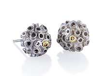 Bejeweled Hive Studs by Shauna Burke (Gold, Silver, & Stone Earrings)