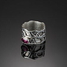 Tangle Eclipse Silver Gemstone Ring by Janet Blake (Silver & Stone Ring)