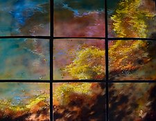 Large Swan Nebula in Nine Panels by Cynthia Miller (Art Glass Wall Sculpture)