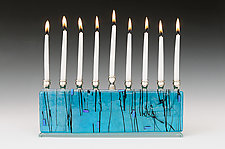 Blue Jerusalem Skyline by Alicia Kelemen (Art Glass Menorah)