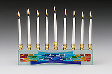 Rainbow Parting of the Sea Curves by Alicia Kelemen (Art Glass Menorah)