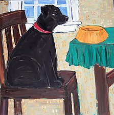 Dog and Chair by Elisa Root (Oil Painting)