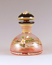 Domed Bottle with Black Detail by Chris Pantos (Art Glass Perfume Bottle)