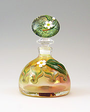 White Flower Domed Bottle by Chris Pantos (Art Glass Perfume Bottle)